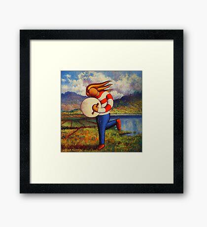 Bodhran player in  impasto  landscape   Framed Print