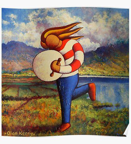 Bodhran player in  impasto  landscape   Poster