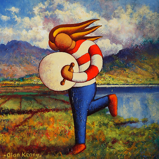 Bodhran player in  impasto  landscape   by Alan Kenny