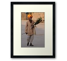 Peacock feather salesman, Rajasthan Framed Print