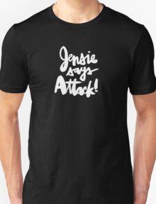 Jensie Says Attack! White Script T-Shirt