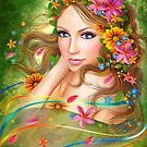 Fantasy Beautiful fairy woman with summer flowers. nature. fashion portrait  by Alena Lazareva