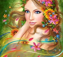 Fantasy Beautiful fairy woman with summer flowers. nature. fashion portrait  by Alena Lazareva