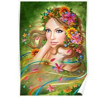 Fantasy Beautiful fairy woman with summer flowers. nature. fashion portrait  Poster