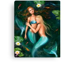 Beautiful fantasy princess mermaids in lake with lilies underwater background Canvas Print