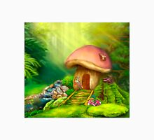Fantasy mushroom cottage house on a colorful meadow Unisex T-Shirt