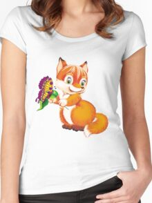 fox and butterfly Women's Fitted Scoop T-Shirt