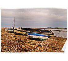Boats on shingle beach Poster