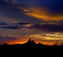 Picacho with Rays by Cathy L. Gregg