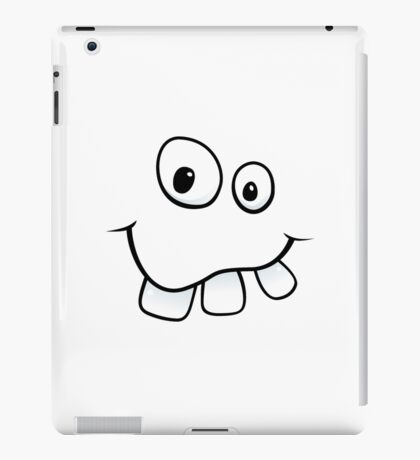 Funny, goofy face with big teeth and googly eyes iPad Case/Skin