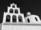 Santorini Church Bells ~ Black & White by Lucinda Walter