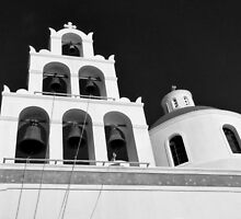 Santorini Church Bells ~ Black & White by Lucinda Walter