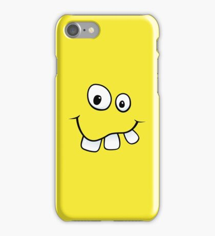 Silly, goofy face with big teeth yellow iPhone case iPhone Case/Skin