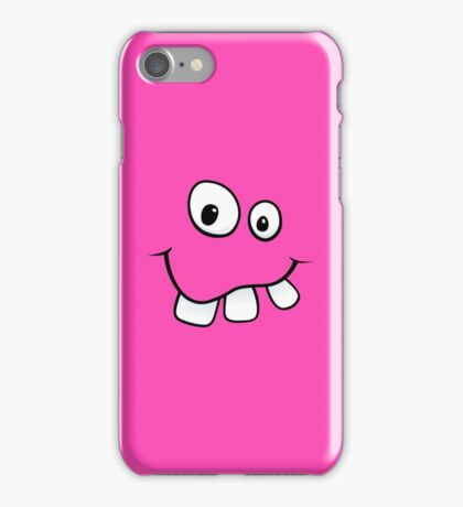 Silly, goofy face with big teeth hot pink iPhone case iPhone Case/Skin