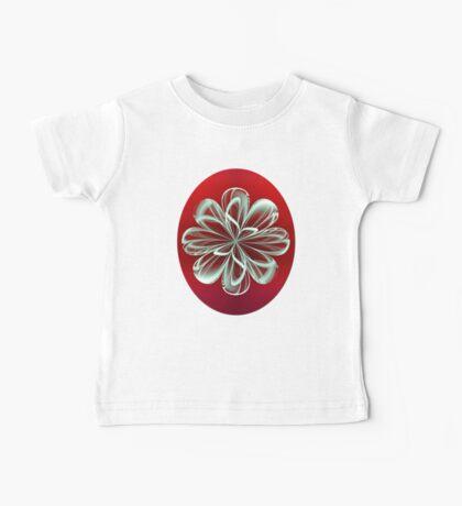 Cyan Bloom on Red Baby Tee