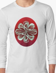 Cyan Bloom on Red Long Sleeve T-Shirt
