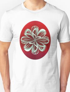 Cyan Bloom on Red T-Shirt
