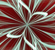 Cyan Bloom on Red Sticker