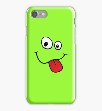 Silly teasing face sticking out tongue green iPhone case iPhone Case/Skin