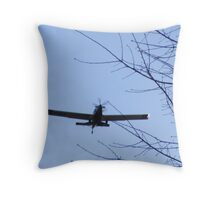 On final Approach in Blue Throw Pillow