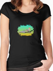 Abstract Female On The Beach Women's Fitted Scoop T-Shirt