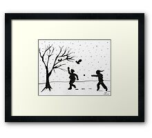 Snowball Fight! Framed Print