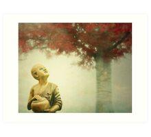 Buddha Statue Tree Art Print