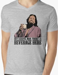 The Big Lebowski Careful Man There's A Beverage Here Color T-Shirt Mens V-Neck T-Shirt