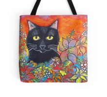Black Cat and Flowers Tote Bag