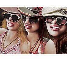 """Three Glam Girls"" Mixed Media Portrait Painting Photographic Print"