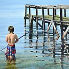 Fishing by the jetty by Freda Surgenor