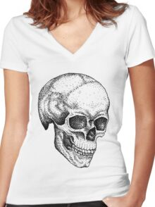 Tattoo skull human dots to lines Women's Fitted V-Neck T-Shirt