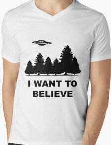 """I want to believe"" X Files Mens V-Neck T-Shirt"