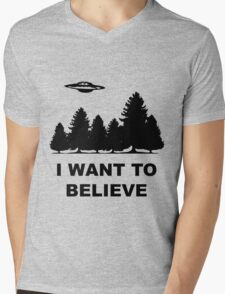 """""""I want to believe"""" X Files Mens V-Neck T-Shirt"""