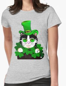 Green eyed St. Patrick's Day cat with clovers Womens Fitted T-Shirt