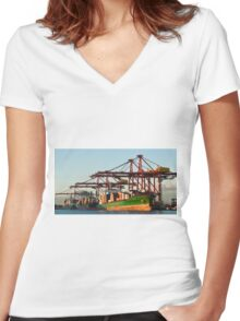 0951 Container Terminal Melbourne Women's Fitted V-Neck T-Shirt