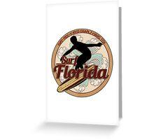 Surf Florida vintage surfboard logo Greeting Card