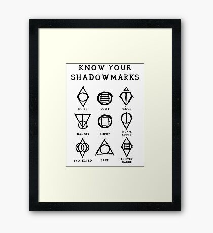 Know Your Shadowmarks (Dark) Framed Print