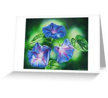 Three Morning Glories Greeting Card