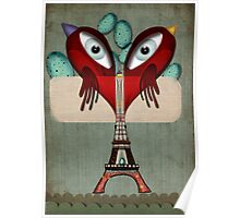 Paris Love Collection Eiffel Tower Birds in love Poster