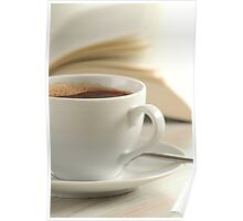Composition with cup of coffee and book on the table Poster