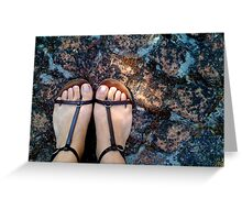Gladiator sandals on the bricks Greeting Card