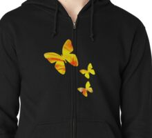 Tie Dye Sunflower Butterflies Zipped Hoodie