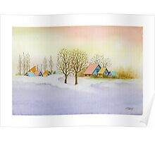 WINTER MORNING - AQUAREL Poster
