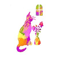 Colorful Cat and Flowers 1 Photographic Print