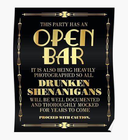 Great gatsby / art deco style open bar sign Poster