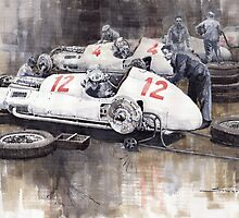 1938 Italian GP Mercedes Benz Team preparation in the paddock by Yuriy Shevchuk