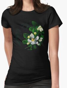 White Flowers I Womens Fitted T-Shirt
