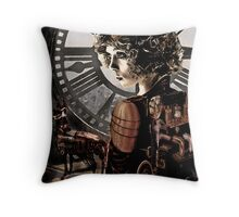 steampunk girl with clock Throw Pillow