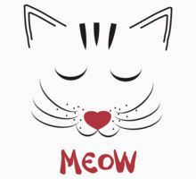 Cute Pussy Cat Face Drawing Meow One Piece - Short Sleeve